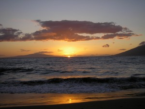 Beach at Wailea at sunset. Priceless!