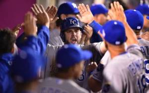 Moustakas being congratulated